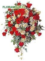 Ramo de Novia casacada rosas